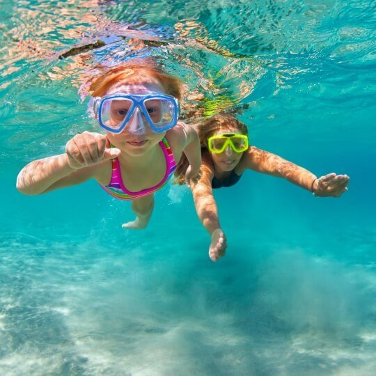 Kids snorkeling Elaphite Islands