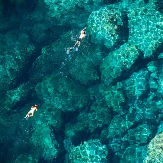 Swiming Elaphite islands near Dubrovnik
